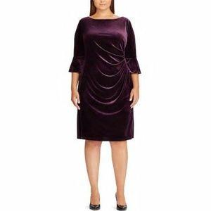 CHAPS Plus Size 18W Aubergine Velvet Dress NWT